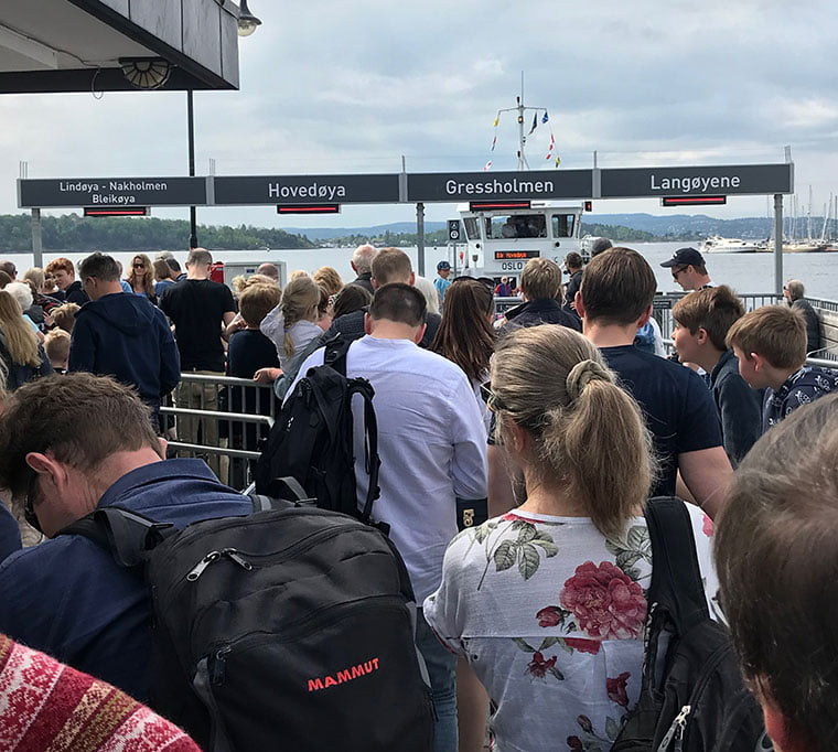 The queue for the Oslo island passenger ferries