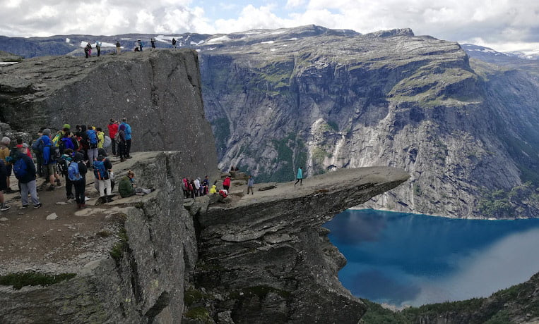 People queueing at Trolltunga in Norway for a photo opportunity