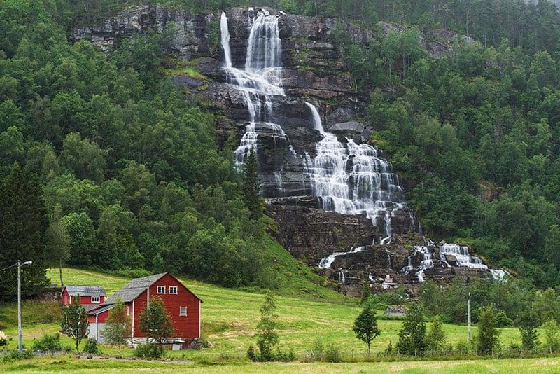 The famous Tvindefossen waterfall near Voss in Norway