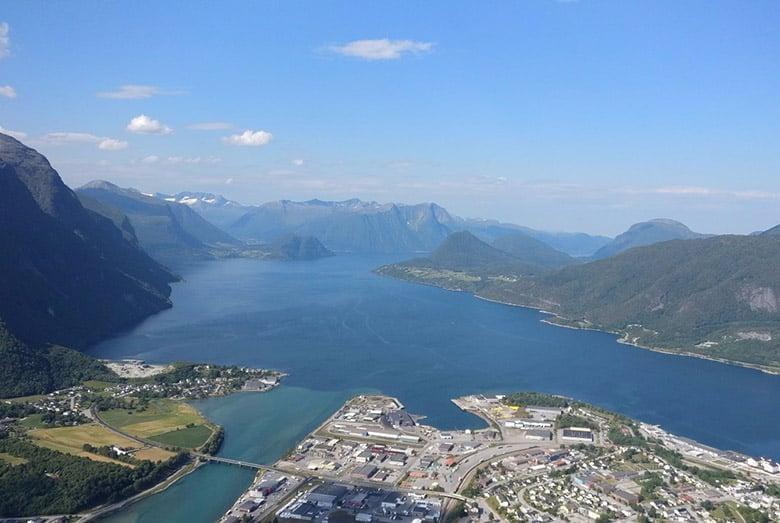 View across Åndalsnes from Rampestrekken
