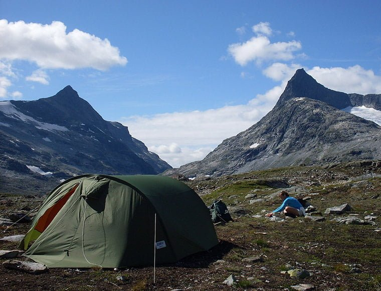 Wild camping in Jotunheimen National Park in Norway