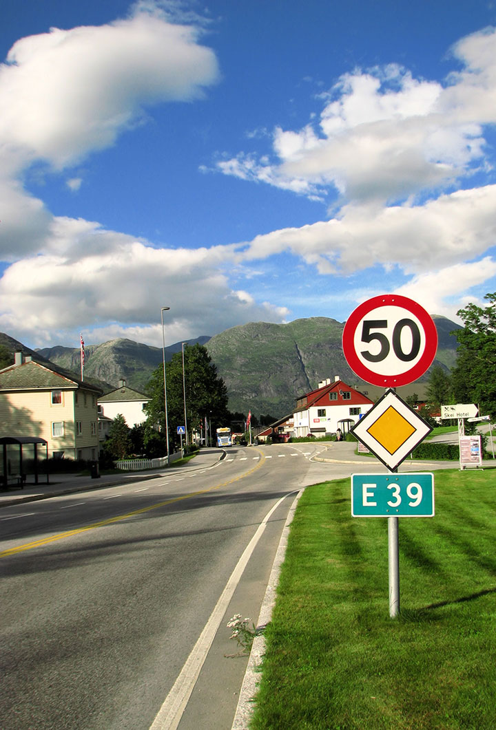 E39 road sign in Norway