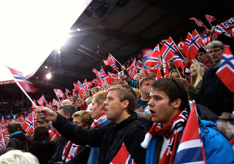 Norwegian football fans at the Ullevaal Stadium in Oslo