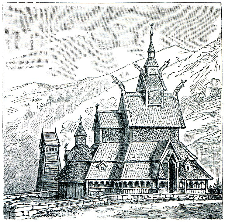 A pencil drawing of Norway's beautiful Borgund Stave Church