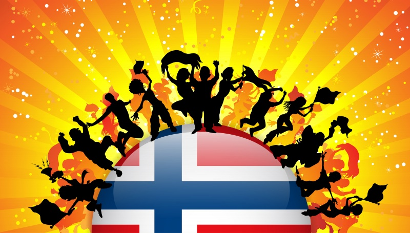 People partying Norway graphic