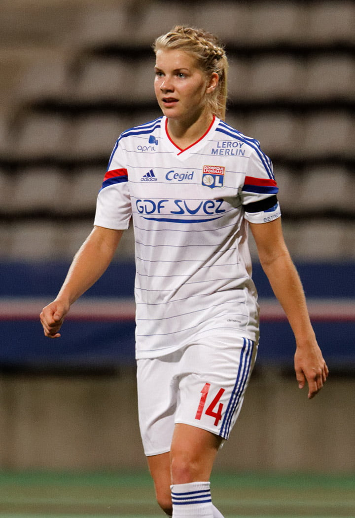 Norwegian footballer Ada Hegerberg playing football in France