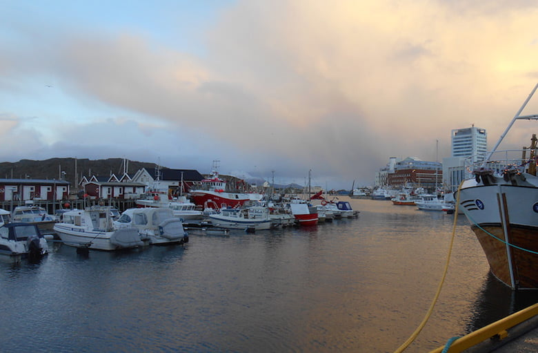 Bodø harbour on a chilly winter morning