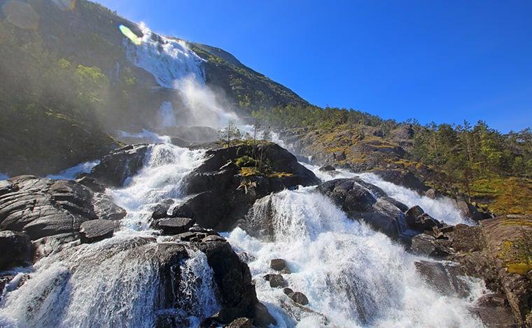 Langfossen waterfall in Norway