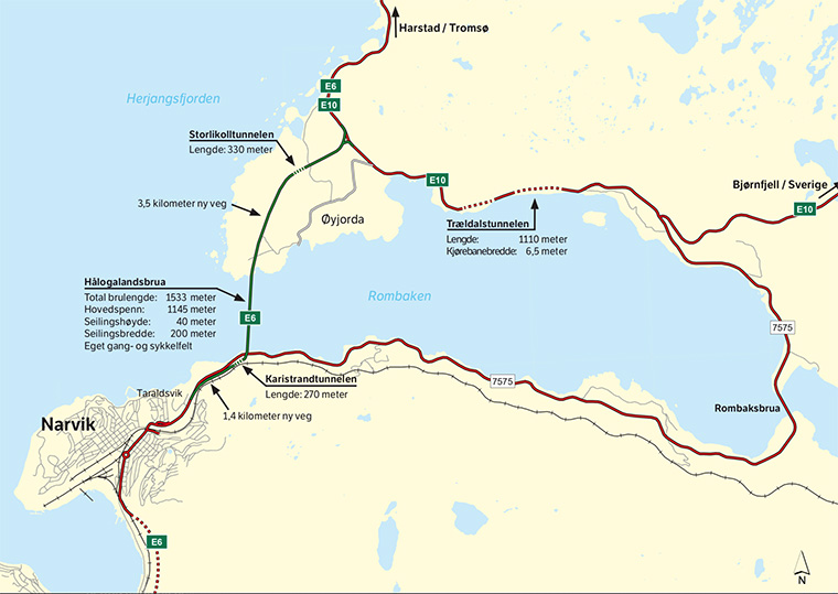 Map of new E6 Hålogalandsbrua bridge at Narvik
