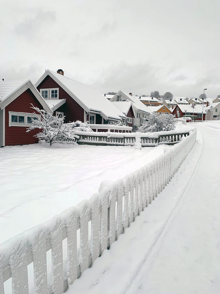 Trondheim's Okstad neighbourhood covered in snow