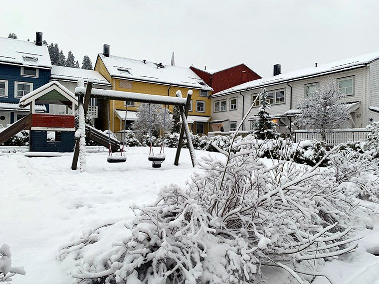 A snowy suburb in Trondheim, Norway