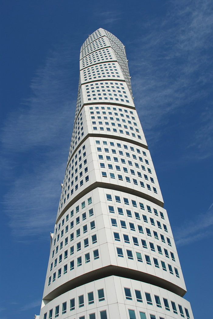 Twisting tower of Malmö in Sweden