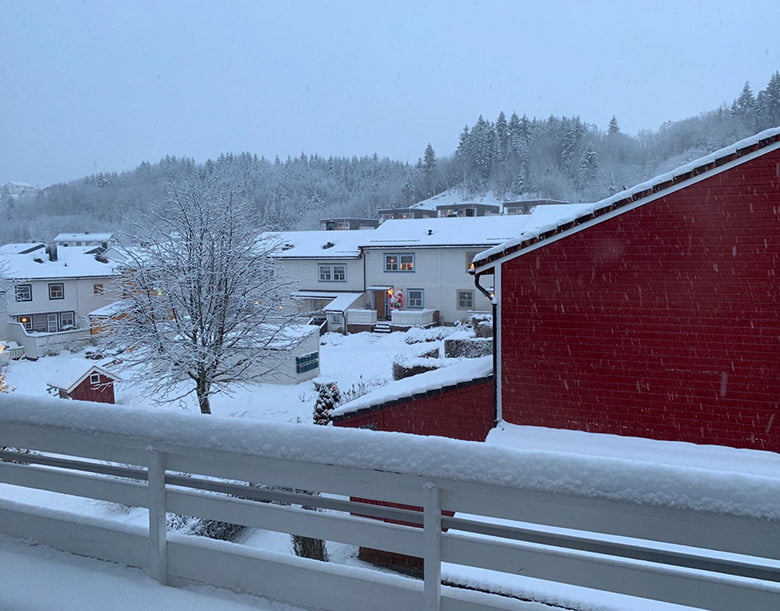 Winter view from the balcony in Trondheim