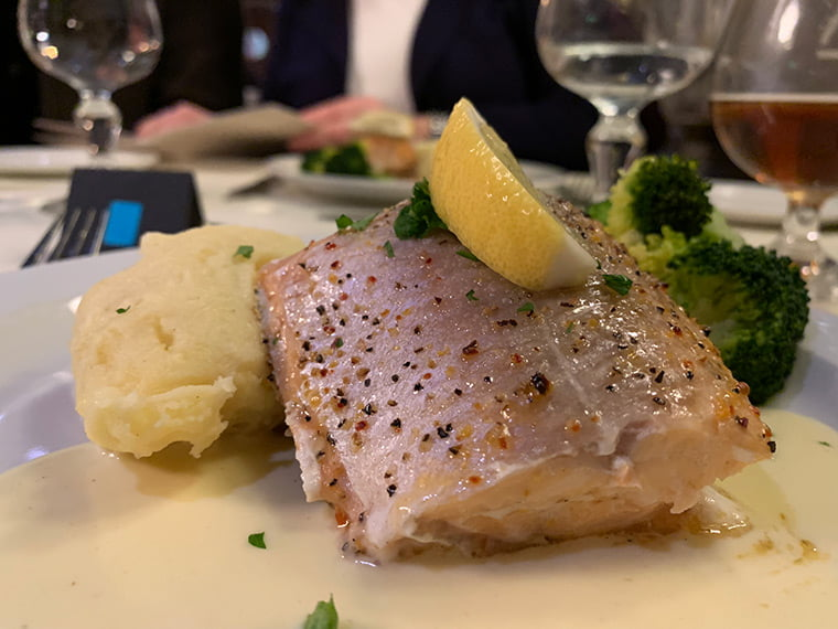 Arctic char main course aboard the MS Vesterålen
