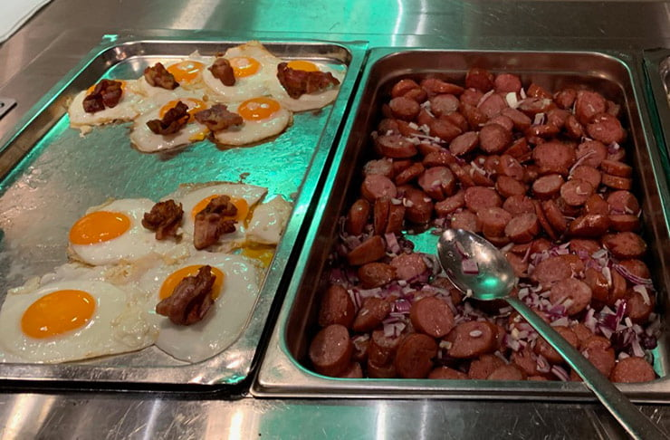 Bacon, eggs and sausages on the MS Vesterålen in Norway