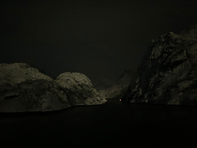 Entrance to the Trollfjord by midnight