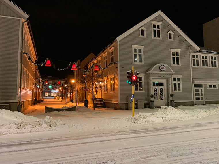 Harstad in the early morning snow