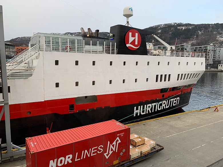 Hurtigruten arrival in Bergen, Norway
