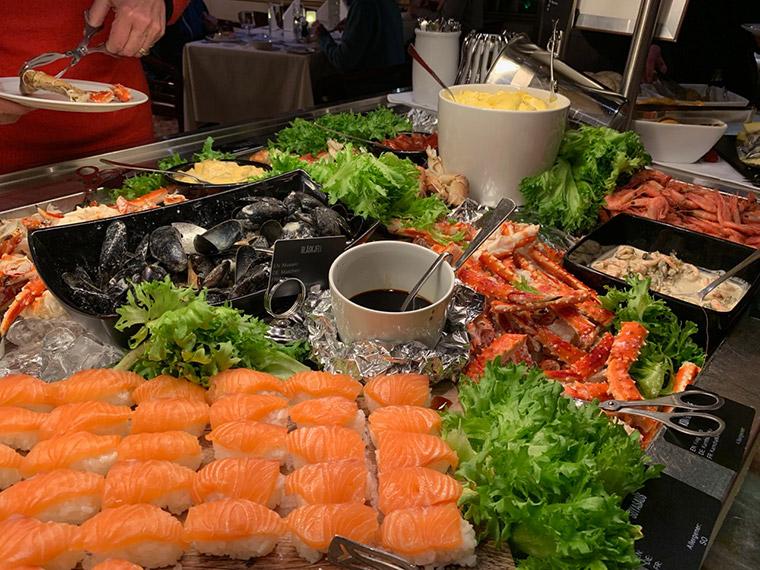Part of the seafood buffet on the Hurtigruten vessel MS Vesterålen