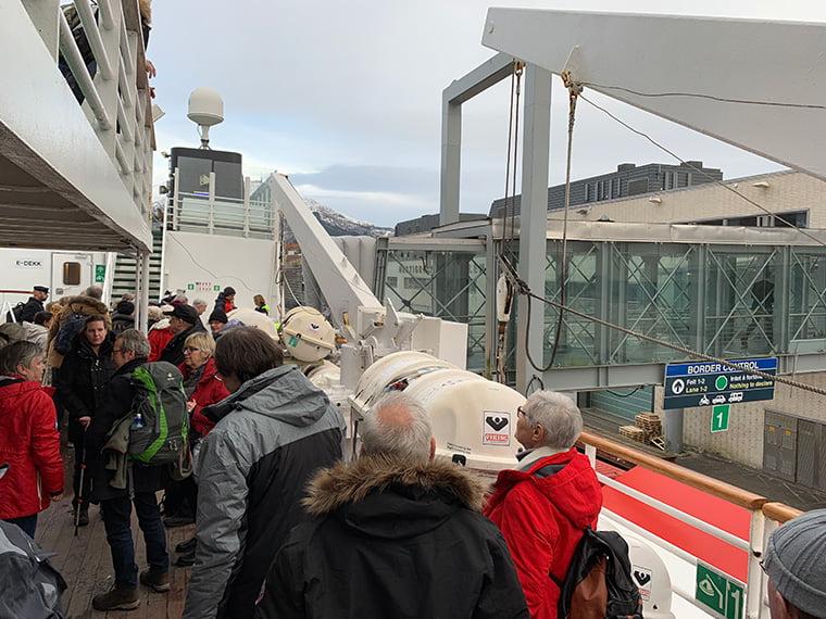Leaving the MS Vesterålen in Bergen, Norway