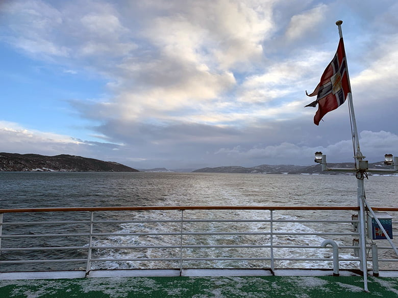 Looking back along the Trondheimsfjord from the MS Vesterålen