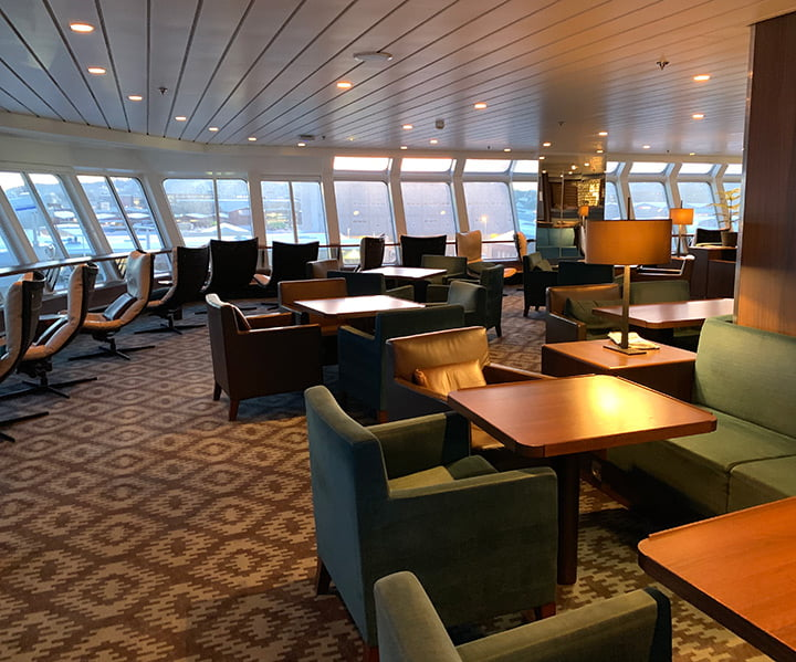 One of the guest lounges aboard the MS Nordnorge
