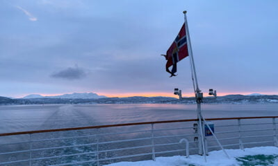 Midday in northern Norway in January, just after leaving the port of Finnsnes