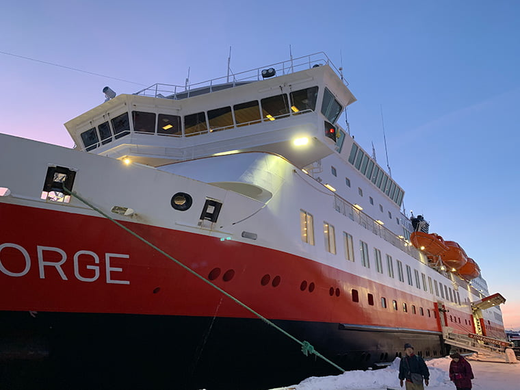 Hurtigruten ship MS Nordnorge docked in Trondheim