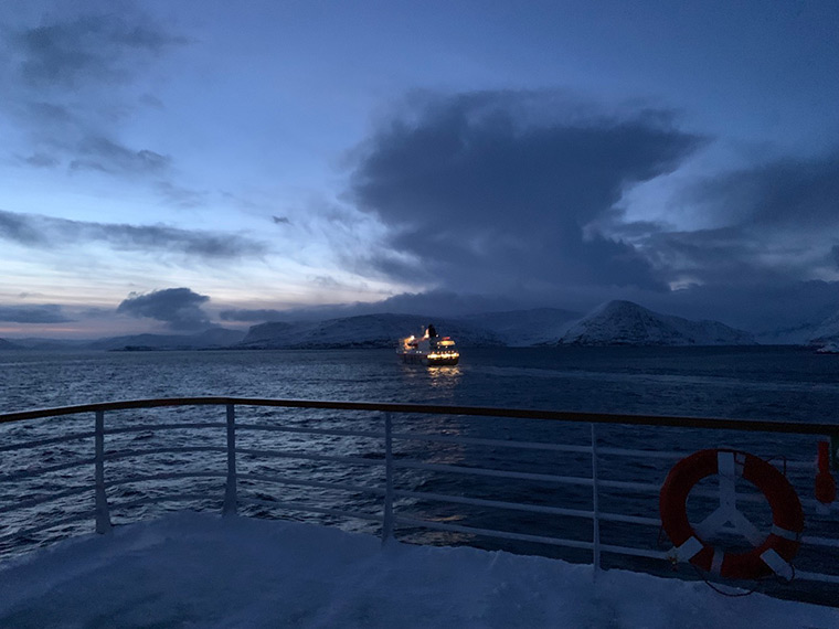 Passing the MS Nordlys in the Norwegian Arctic