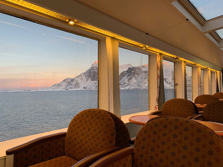 View from the panorama lounge on the MS Vesterålen