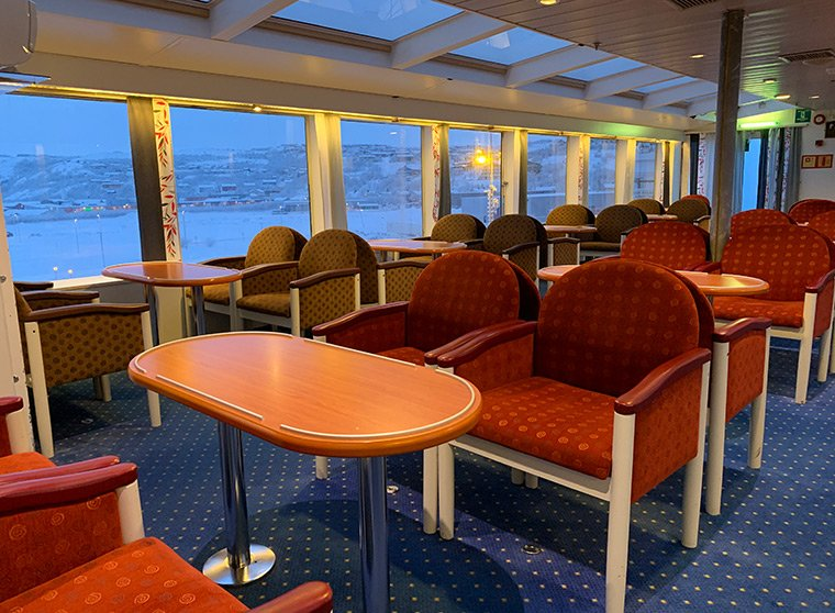 Hurtigruten panorama lounge on the MS Vesterålen