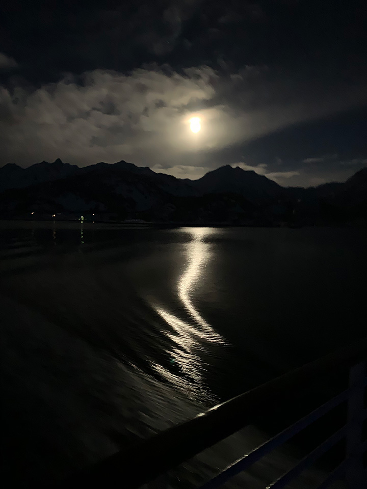 Raftsund, Norway, by moonlight