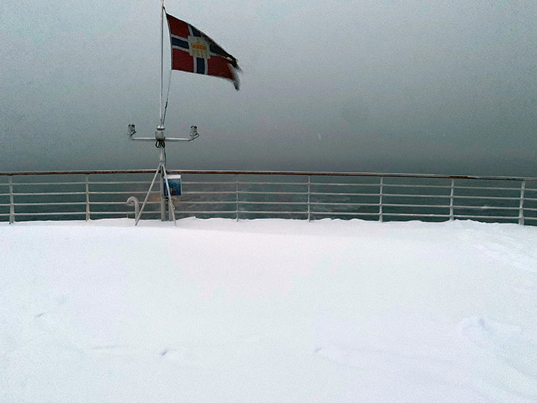 A snowy deck on the MS Vesterålen