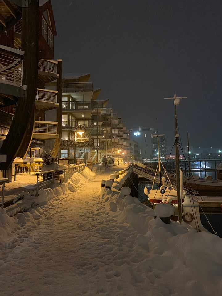 Svolvær marina in the January snow