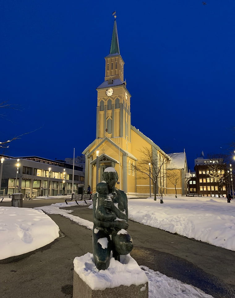 Tromsø cathedral in the winter blue hour