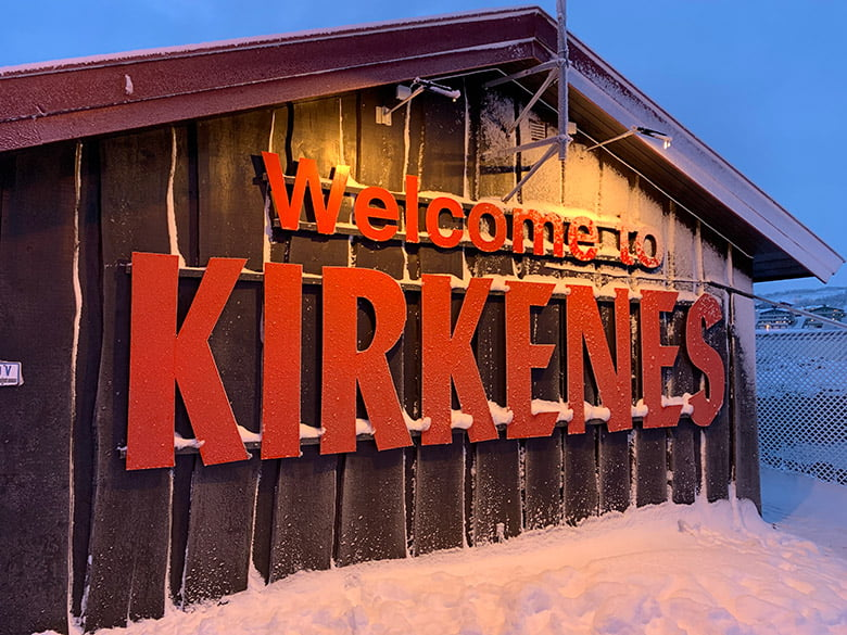 Welcome to Kirkenes sign at the Hurtigruten quay