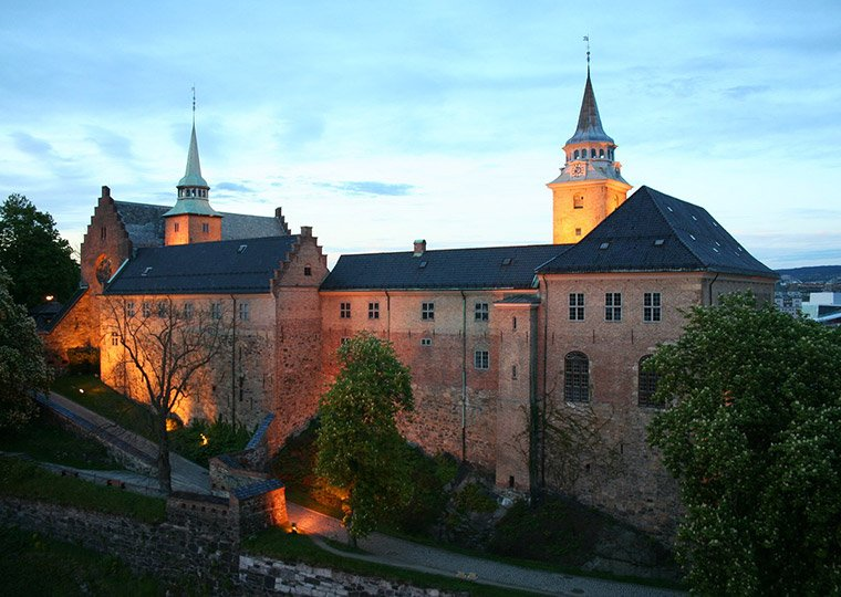 Oslo's Akershus Castle at night
