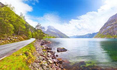 Exploring the coastline of the Hardangerfjord in Norway