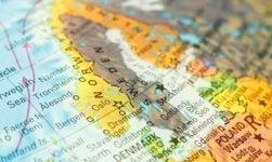 Scandinavia on a globe