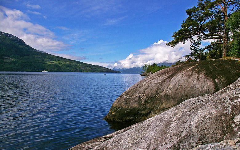 The coastline of Norway's Hardangerfjord