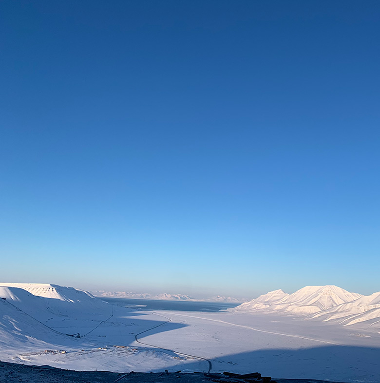 Svalbard's Adventdalen in the winter light of March