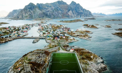 The incredible setting of the football ground in Henningsvær, Lofoten, Norway