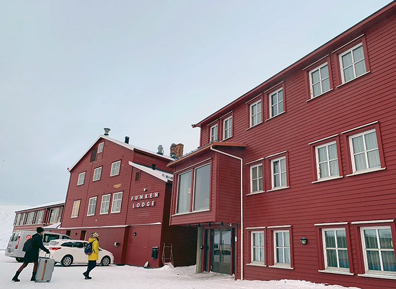 Entrance to Funken Lodge in Svalbard