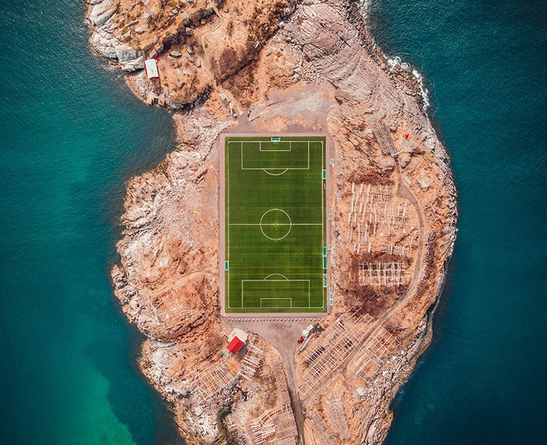 Football pitch in Henningsvær on the Lofoten Islands in Norway