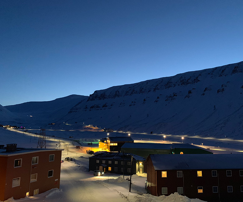 Longyearbyen during the blue hour in the late winter