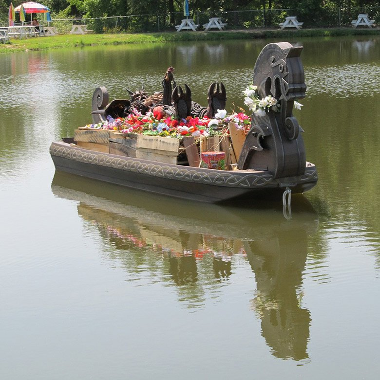 Mock viking funeral on a lake