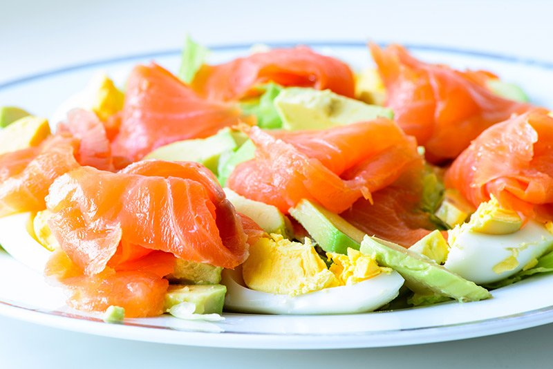Norwegian food is dominated by seafood. Here is a typical salmon salad.