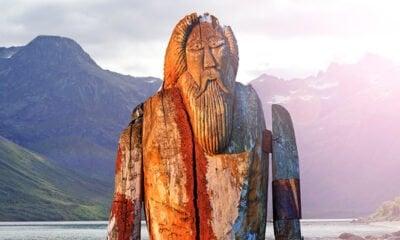 Norse God Odin by a fjord