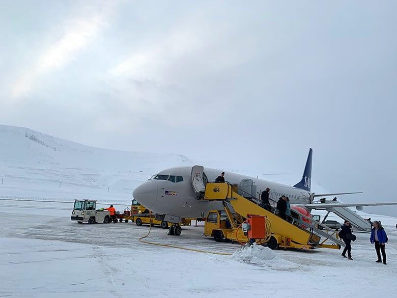 SAS plane arriving at Svalbard Airport Longyearbyen