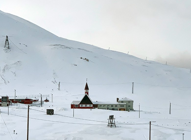 Svalbard church on the hill above Longyearbyen